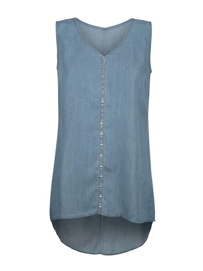 AMY VERMONT Top in Jeans-Optik und mit Metallplättchen im Vorderteil, Blau