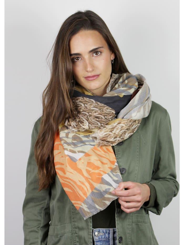 Exotischer Mustermix-Schal aus reiner Baumwolle