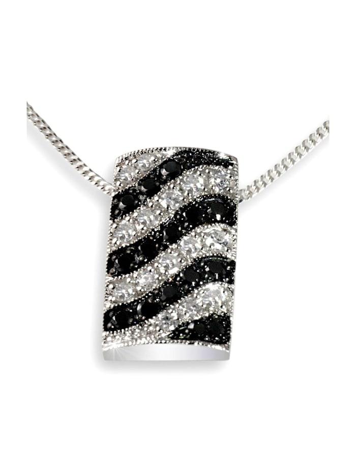 Goldmaid Collier Silber 925/- Anhänger schwarz weiße Zirkonia  Wellenform, silberfarben