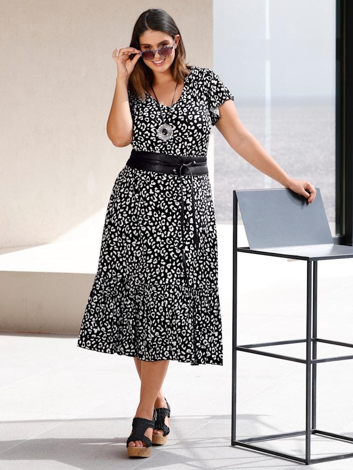 Sara Lindholm Jersey jurk met volant, Zwart/Offwhite
