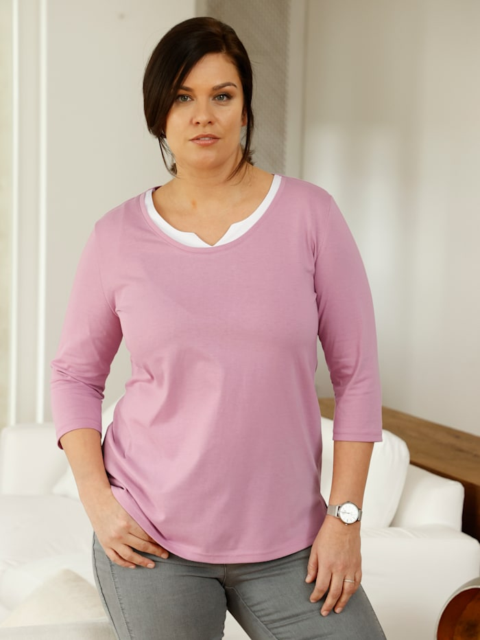 m. collection Shirt in 2-in-1-look, Roze