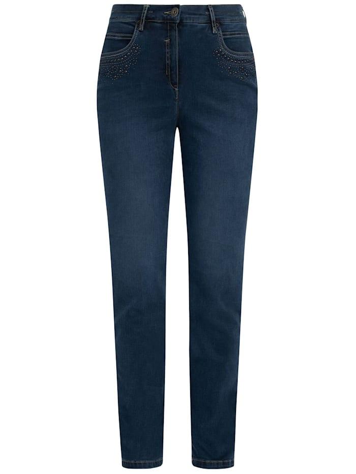 RECOVER Pants Jeans mit Zierperlen, Denimblau