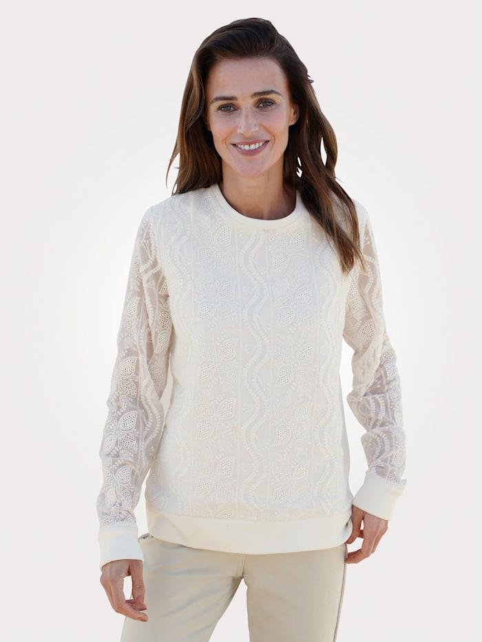 MONA Sweatshirt met bloemenkant, Ecru