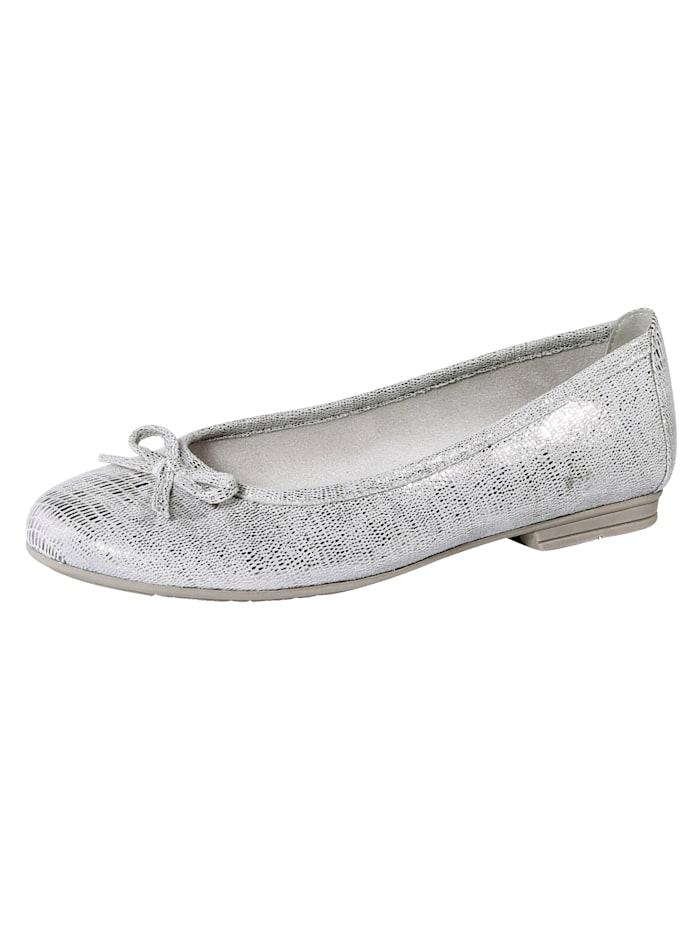 Softline Ballerina im klassischen Look mit Zierschleife, Silberfarben