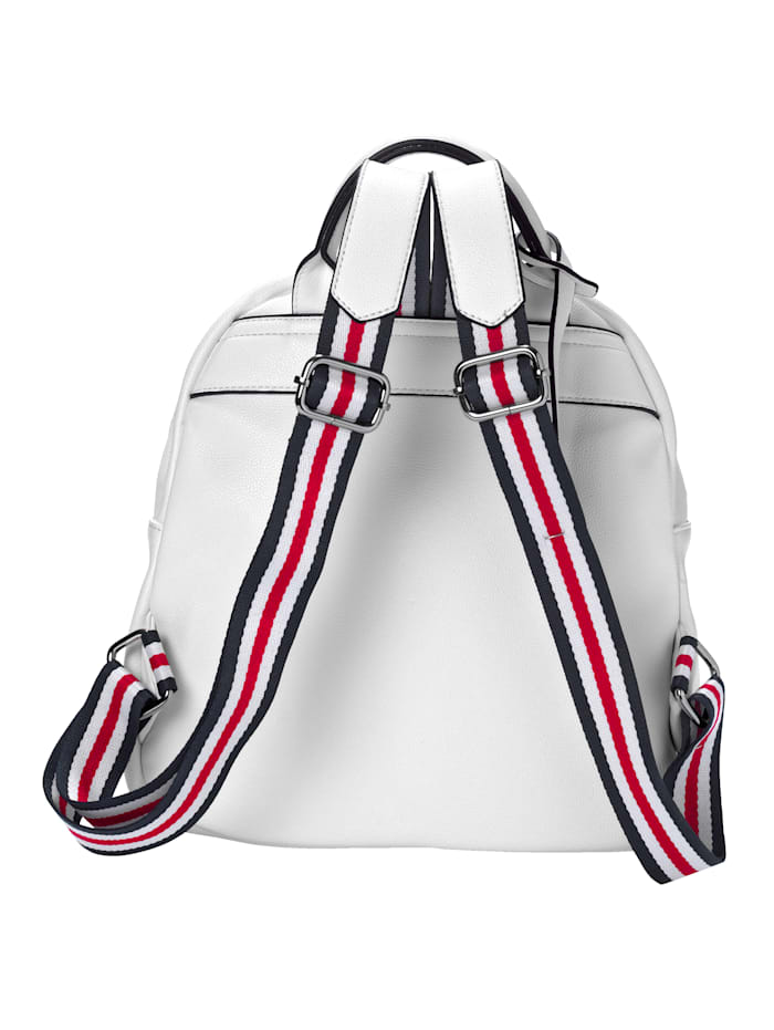 Backpack with striped straps