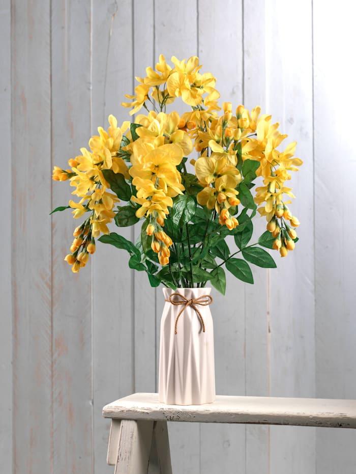 Kultasadepensas keramiikkamaljakossa, tekokukka, keltainen