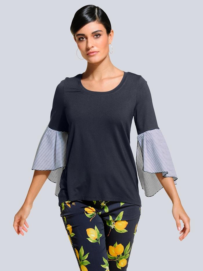 Alba Moda Shirt aus trageangenehmer Jerseyware, Dunkelblau/Weiß