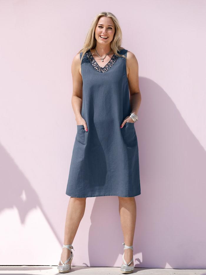 MIAMODA Kleid aus Baumwoll-Leinen Material, Hellblau