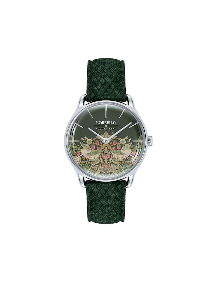 August Berg Uhr MORRIS & CO Silver Green Perlon 30mm, fennel