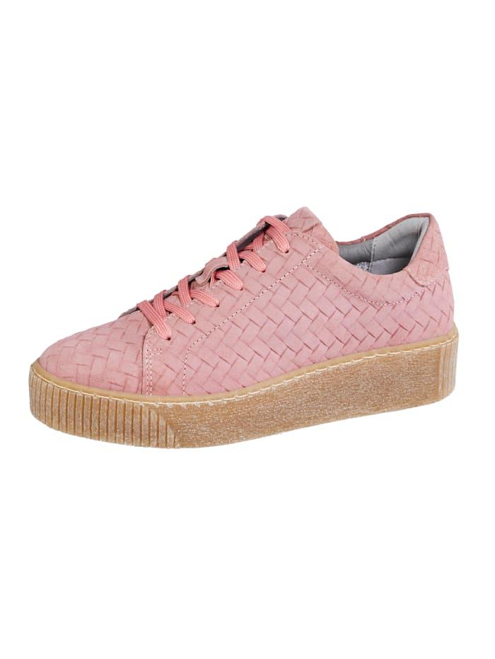 Liva Loop Sneaker in mooie gevlochten look, Oudroze