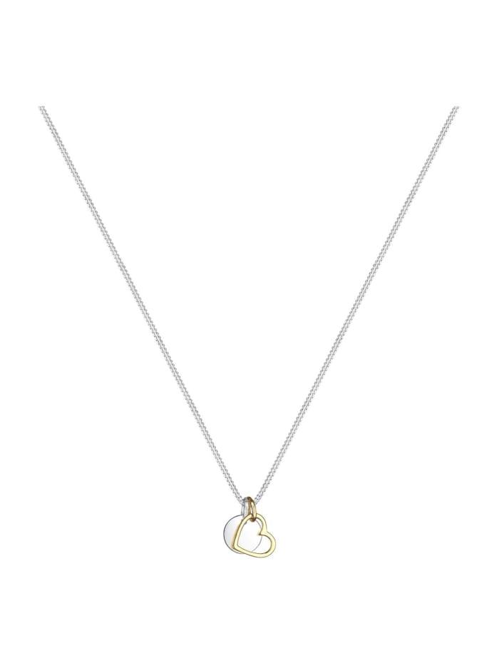 Halskette Herz Kreis Plättchen Bi-Color 925 Silber