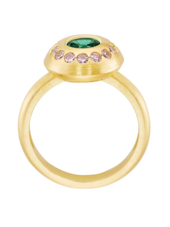Ring mit Zirkonia rosa und grünem Kristallstein, Silber 925
