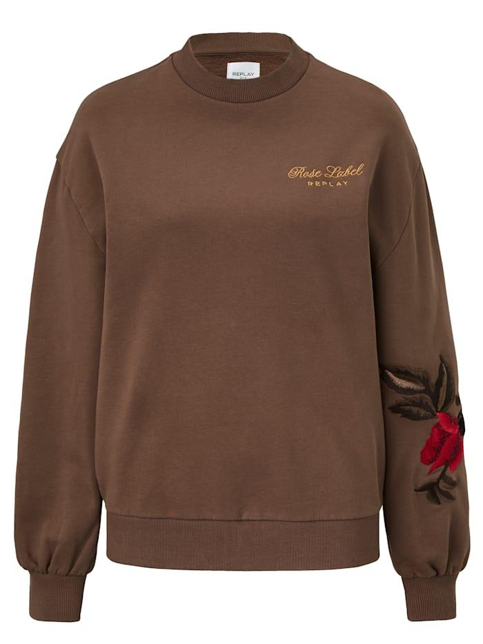 REPLAY Sweatshirt mit Stickerei, Schokobraun