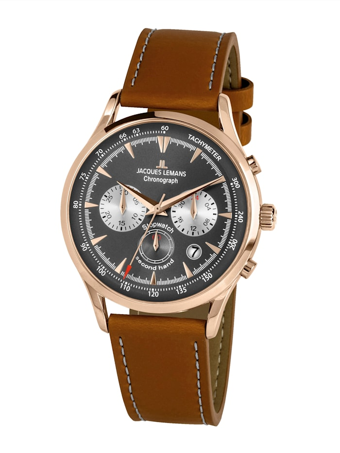 Jacques Lemans Herren-Uhr Chronograph Serie: Retro Classic, Kollektion: Retro Classic: 1- 2068F, Hellbraun