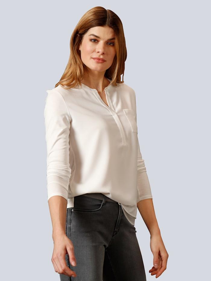 BRAX Blusenshirt mit kleinem V-Ausschnitt, Weiß