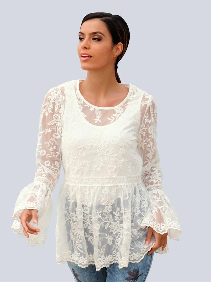 Alba Moda Strandshirt im Romantik-Stil, Creme-Weiß