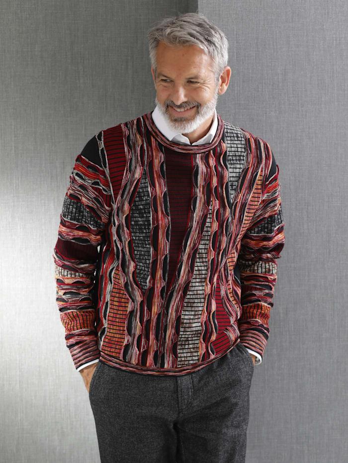 BABISTA Pullover durch hochwertiger Strickkunst gefertigt, Bordeaux/Schwarz