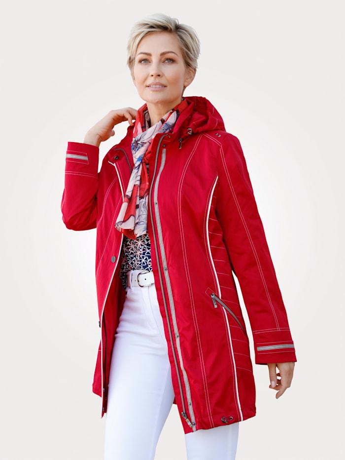 MONA Veste longue à effet légèrement froissé, Rouge/Blanc