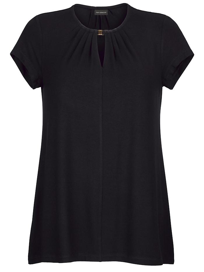 AMY VERMONT Shirt mit dekorativer Schließe am Ausschnitt, Schwarz