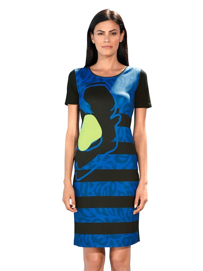 AMY VERMONT Jersey jurk met dessin, Zwart/Blauw/Groen
