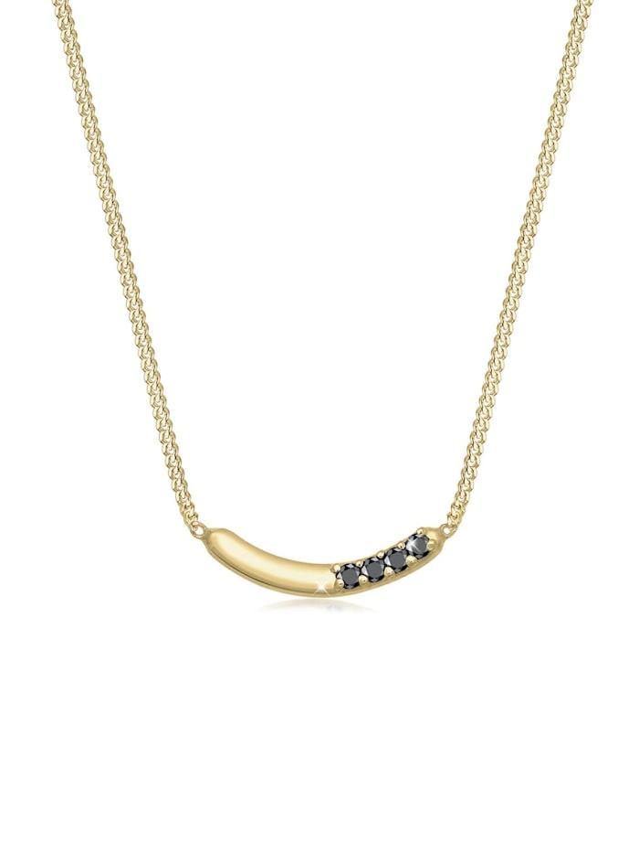 Elli Premium Halskette Bogen Geo Schwarzer Diamant (0.06Ct.) 375 Gelbgold, Gold