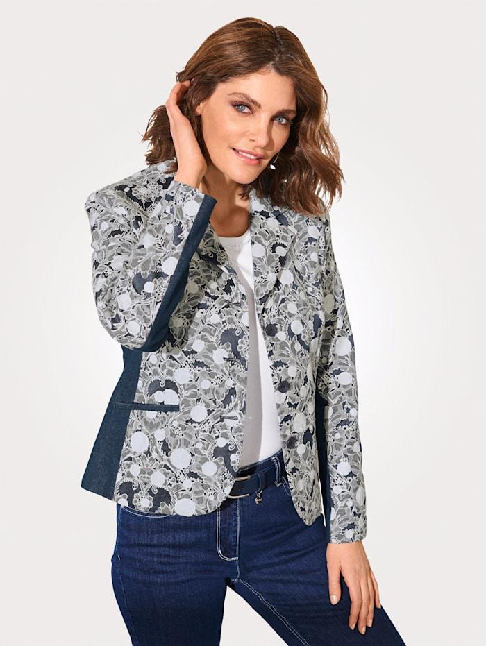 MONA Blazer with a floral jacquard pattern, Ivory/Smoke Blue
