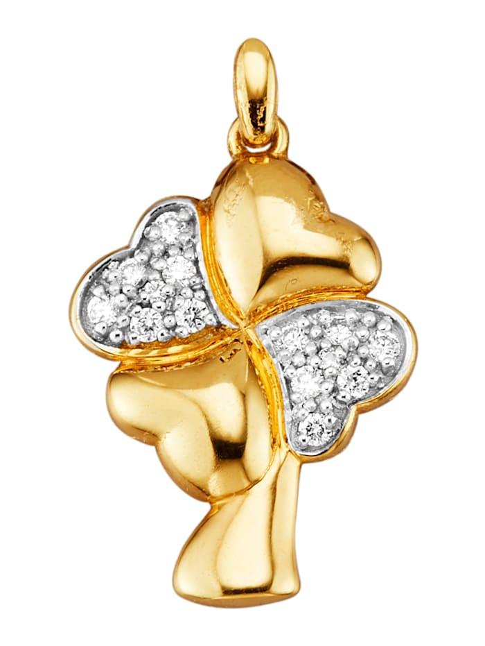 Diemer Diamant Kleeblatt-Anhänger mit Brillanten, Gelbgoldfarben