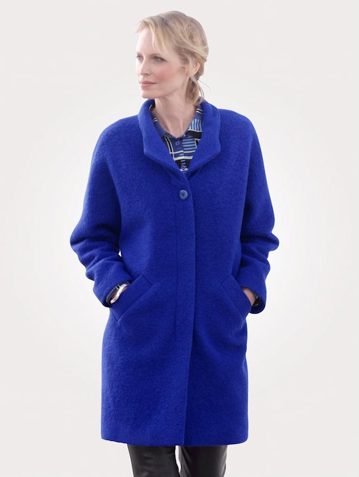 MONA Veste en laine foulée, Bleu roi