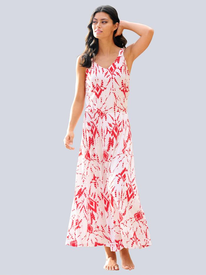 Alba Moda Strandkleid mit Batikdruck, Weiß