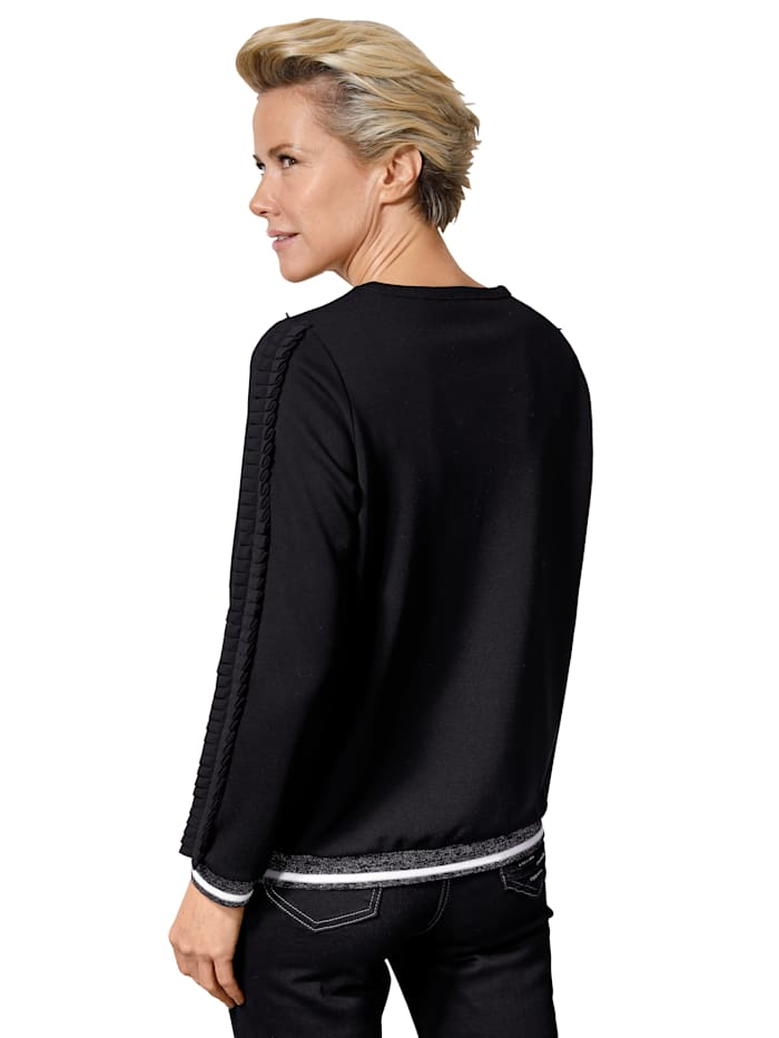 Sweatshirt met modieuze ruches