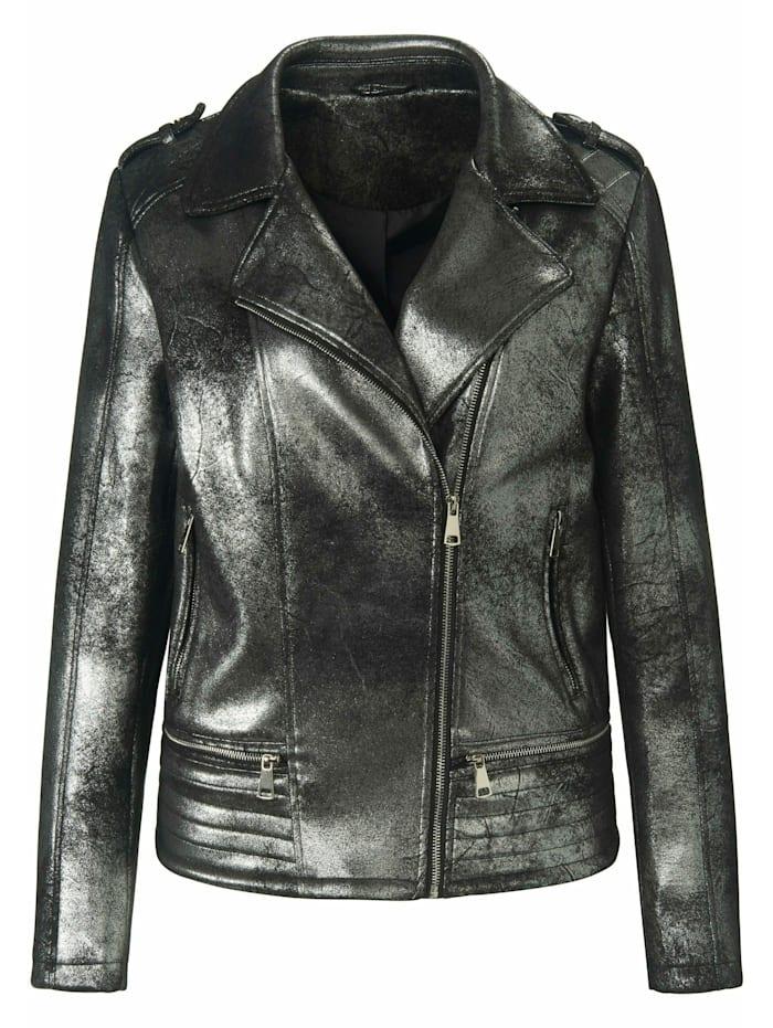 Emilia Lay Outdoorjacke Biker-Jacke, schwarz/silber