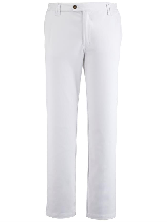 Roger Kent Flatfronthose mit seitlichem Dehnbund, Weiß