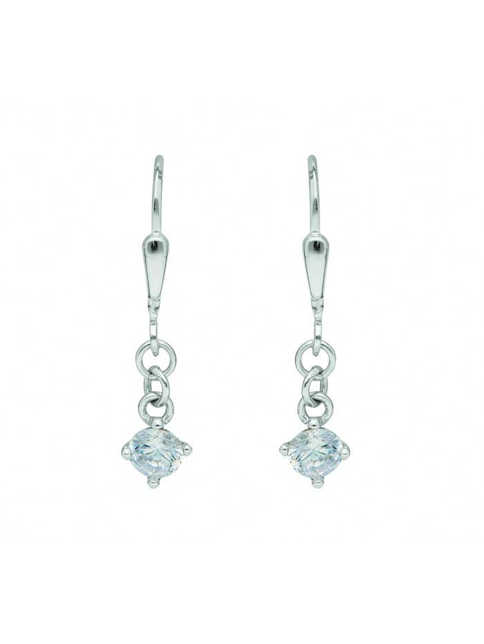 1001 Diamonds Damen Goldschmuck 333 Weißgold Ohrringe / Ohrhänger Herz mit Zirkonia, silber