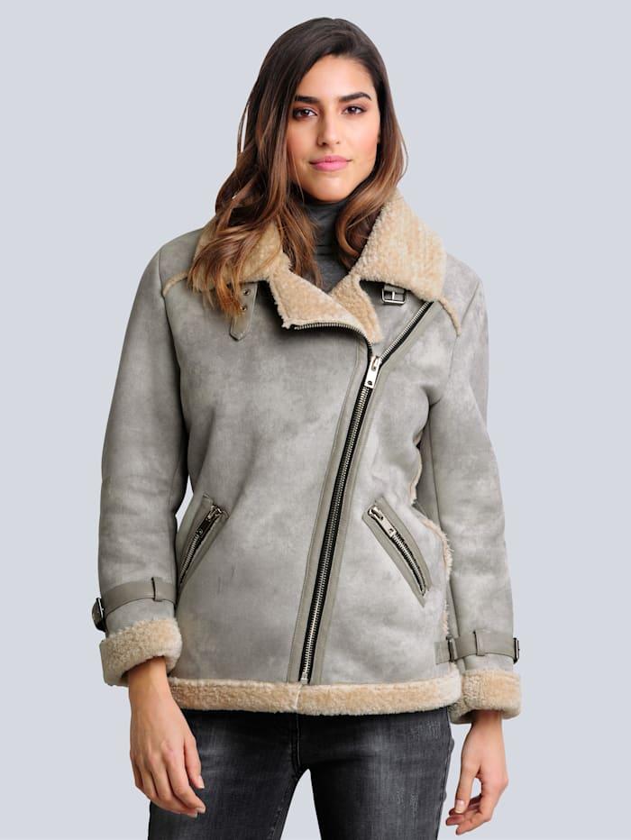 Alba Moda Jacke aus Veloursimitat, Silbergrau