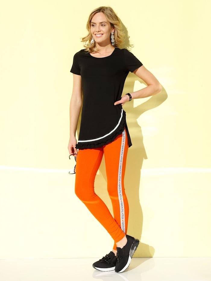 AMY VERMONT Leggings mit Tape in Kontrastfarbe, Orange