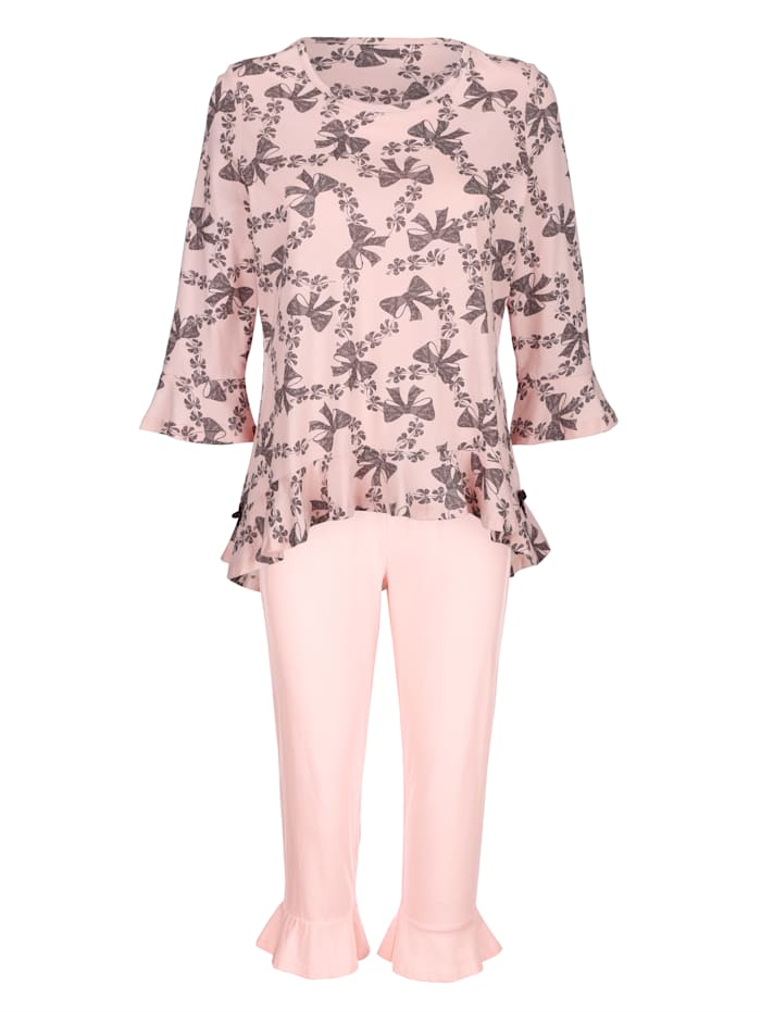 Simone Pyjama met speelse volants, Roze/Grijs