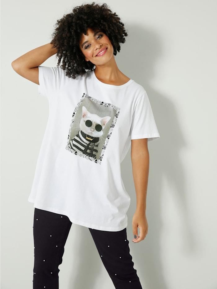 Angel of Style Shirt mit Katzenprint, Weiß/Schwarz