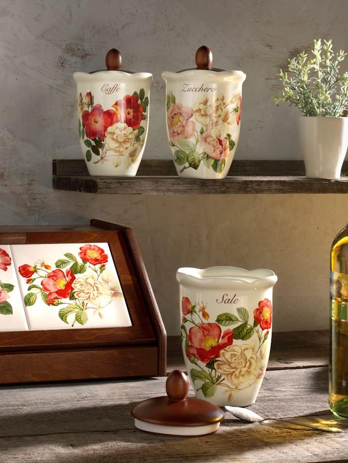 Nuova Ceramica Artisan Boîte de conservation rétro pour sel 'Orto d´Autunno', Multicolore