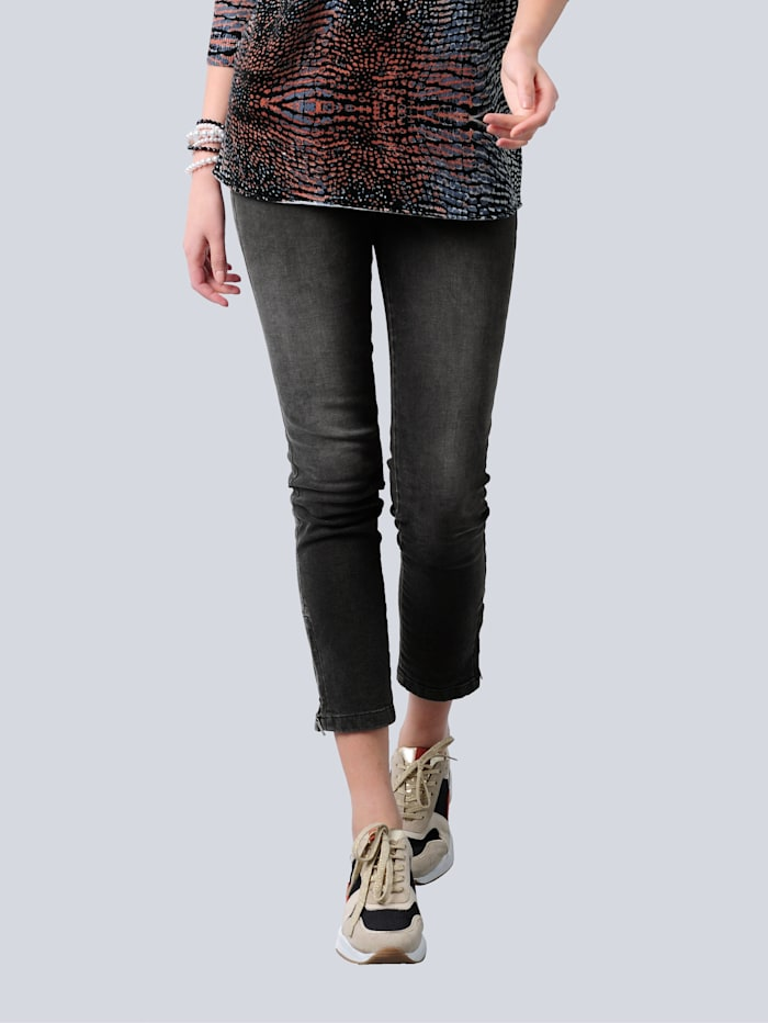 Alba Moda Jeans mit kontrastfarbigem Dekotape, Grau