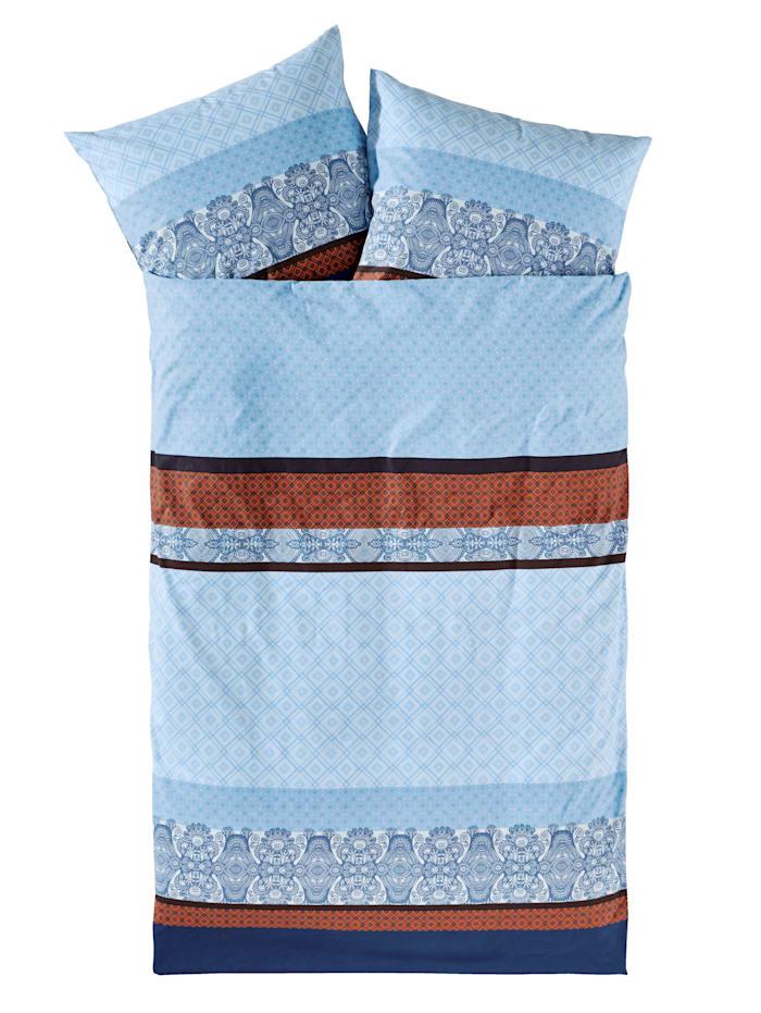 Webschatz Parure de lit en flanelle 'Martina', Bleu foncé/brique