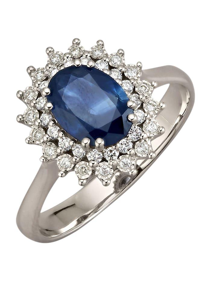 Diemer Farbstein Damenring mit Saphir und Brillanten, Blau