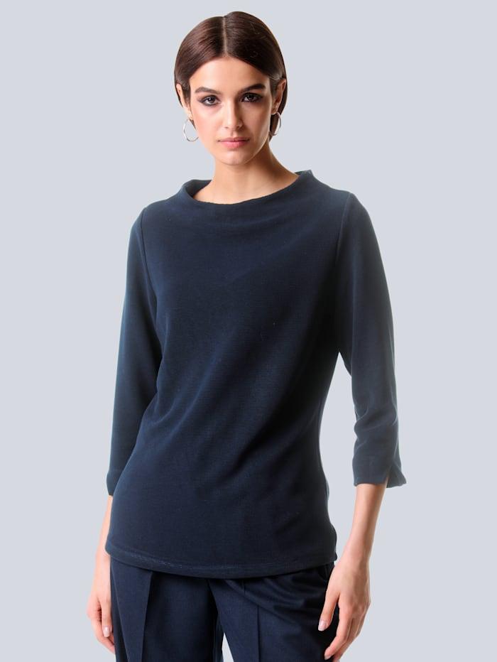 Alba Moda Shirt in feiner Rippenstruktur, Marineblau