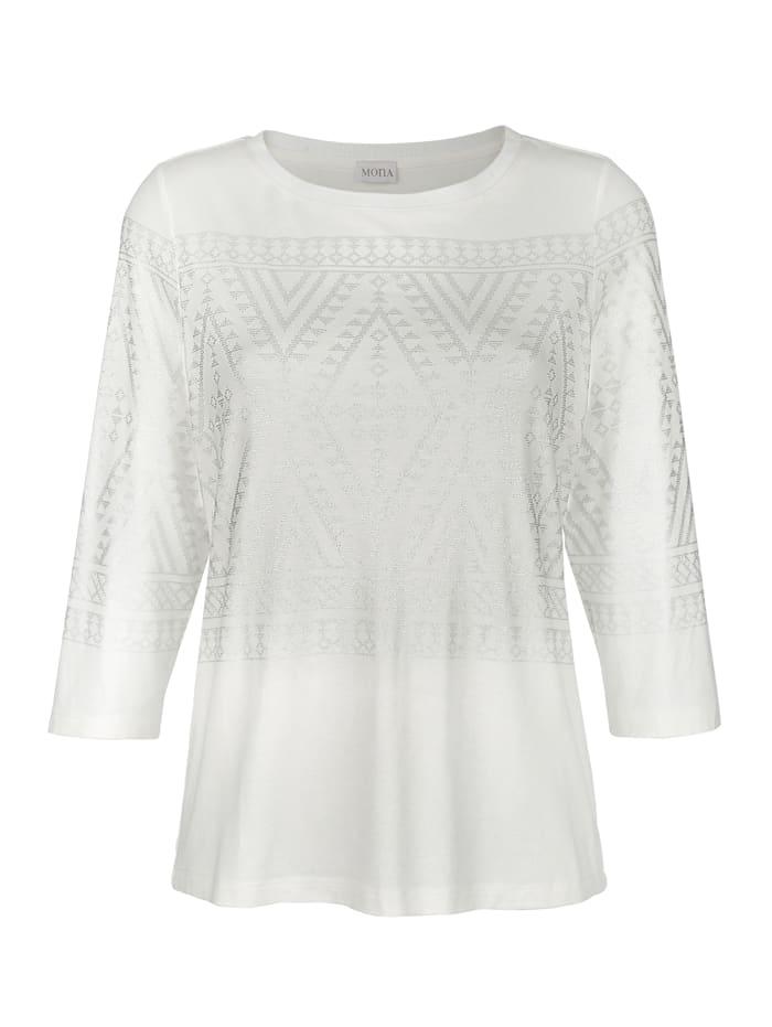 MONA Shirt mit platziertem Norweger-Motiv, Ecru/Silberfarben