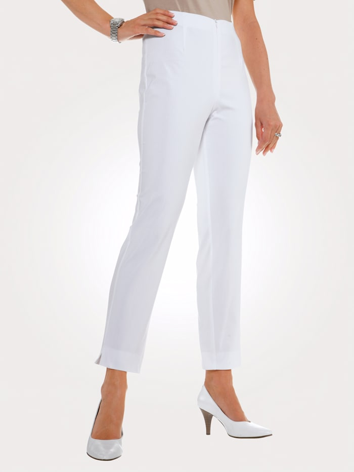 MONA Ankle length trousers made from a cotton blend, White