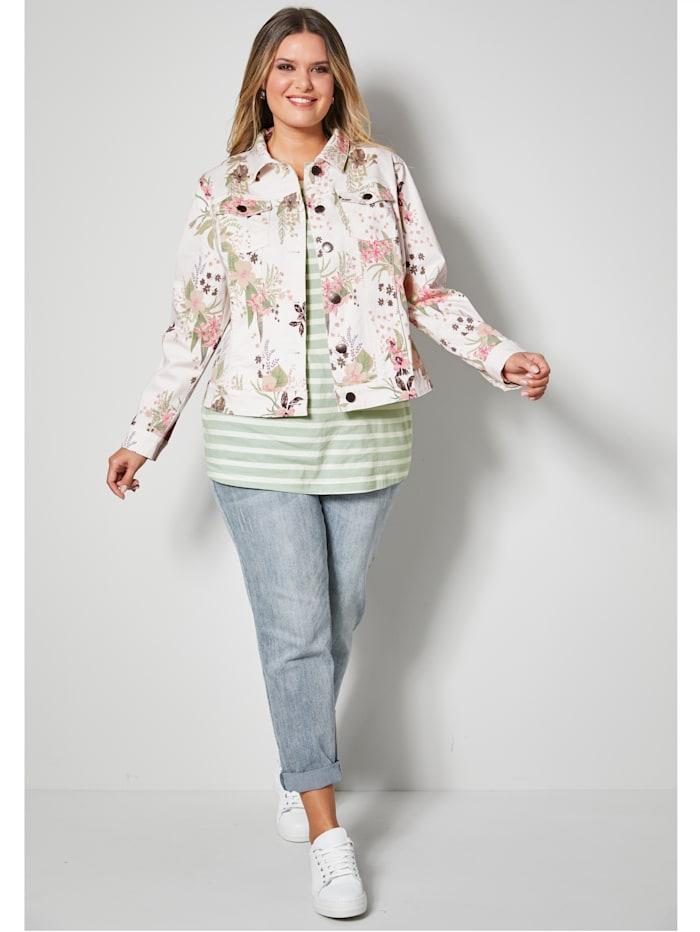 Jeans-Jacke floral bedruckt