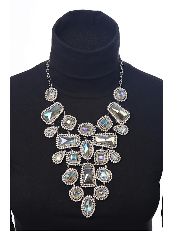 Opulente Statementkette Rita mit antiken Glassteinen