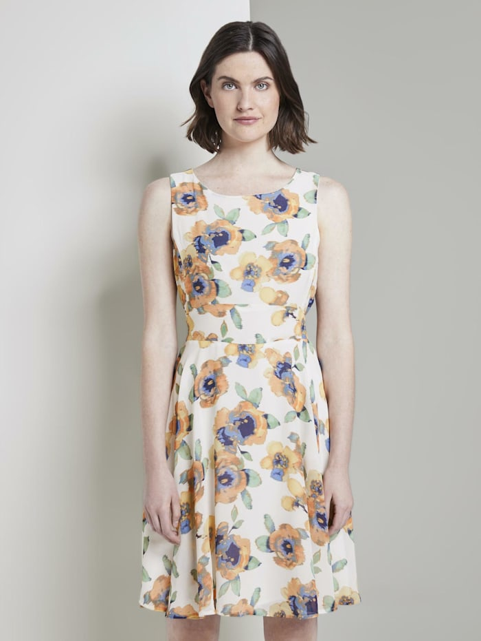 Tom Tailor Gemustertes Chiffonkleid, offwhite floral design