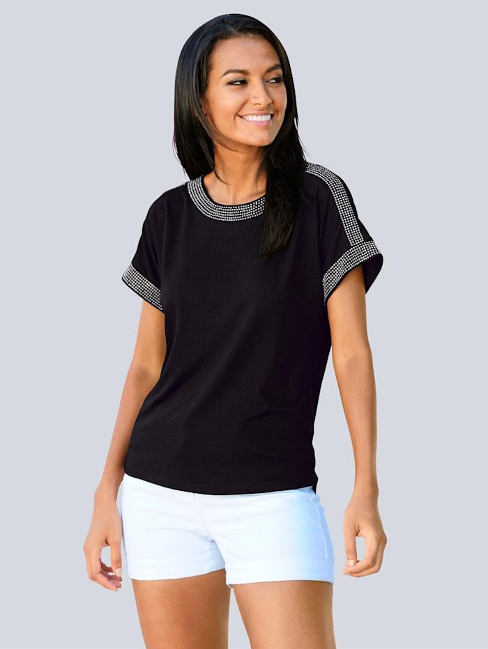 Alba Moda Shirt met glittersteentjes, Zwart