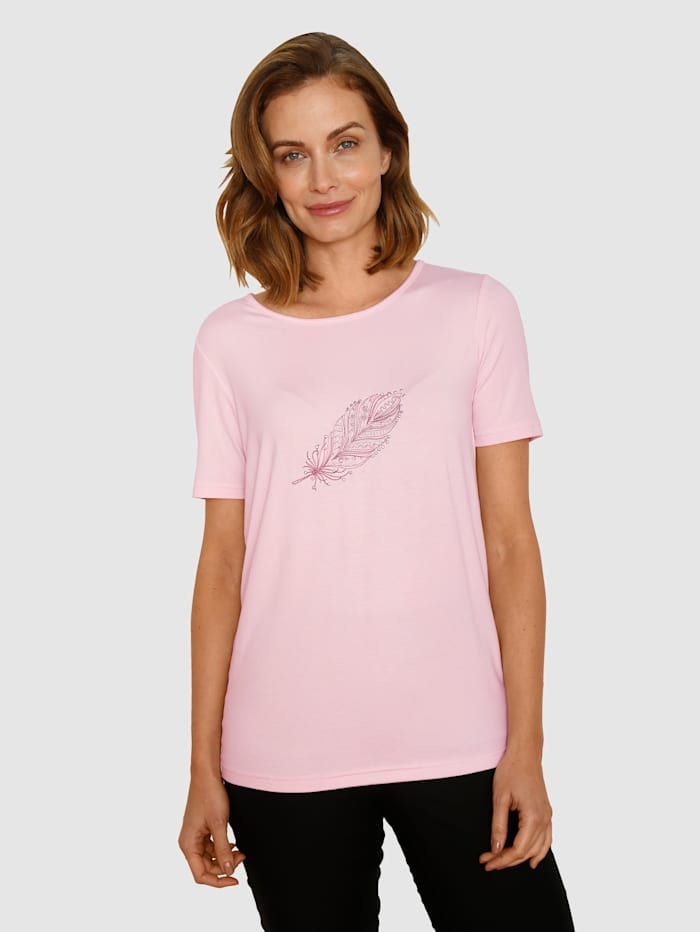 Paola T-shirt avec broderie plume, Rose