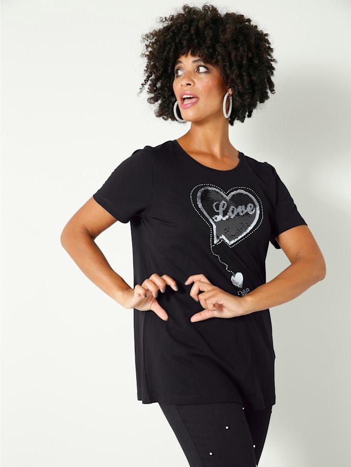 Angel of Style Shirt mit Wendepailletten, Schwarz